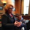 Heitkamp+Tester+DeCoteau: Senator Heidi Heitkamp of North Dakota standing, Senator John Tester and Tami DeCoteau