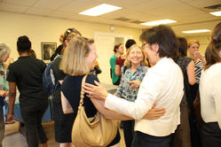 Andy Blanch (center) Larke Huang of SAMHSA (right) greets Clare Anderson of Chapin Hall