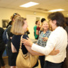 Andy Blanch (center) Larke Huang of SAMHSA (right)  greets Clare Anderson of Chapin Hall: Photo Credit:  Julia Clouser