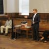 Patrick Kennedy acknowledges Allen Sweatt's service.  Amy Kennedy to the right, Allen Sweatt and Dana Schwartz to the left: Photo Credit:  Julia Clouser