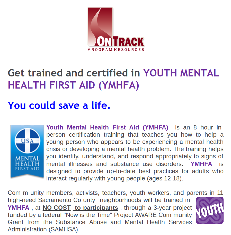 Coming Next Week Free Training On Youth Mental Health First Aid
