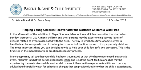 Helping Young Children Recover After The Northern California Wild