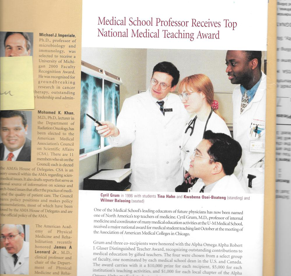 Med School, 150th year of Michigan Medical School in JAMA and Me -- How could that be??