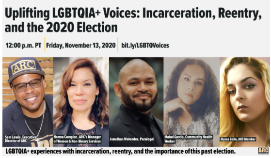 Uplifting LGBTQIA+ Voices: Incarceration, Reentry, and the 2020 Election