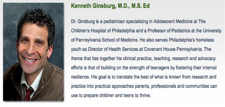 """Kenneth Ginsburg, M.D., M.S. Ed on """"Using Trauma Informed Care and a Strength Based Approach to Reach Teenagers and Build Resilient Kids and Communities,"""""""