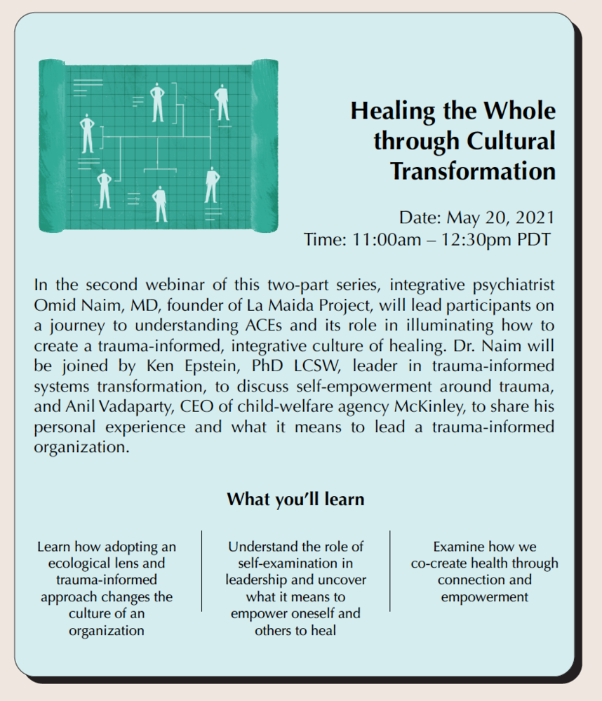 Healing the Whole through Cultural Transformation (Live Webinar: May 20, 11am PDT with live Q&A)