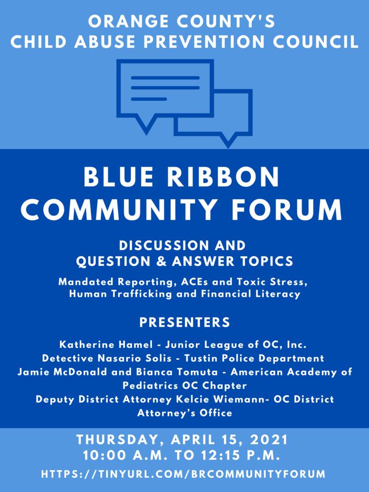 OC CAPC Blue Ribbon Community Forum
