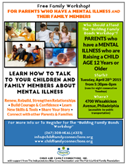 Building Family Bonds: A Free Workshop for Families To Help Families Rebuild, Renew, and Strengthen Relationship Impacted By Parental Mental Illness