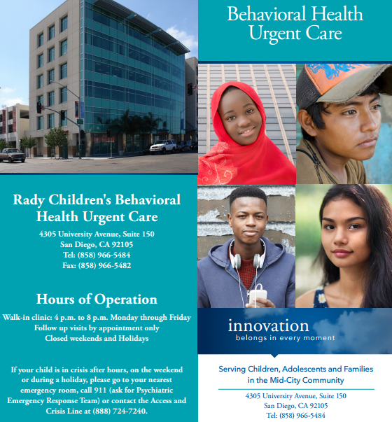 Rady Children's Behavioral Health Urgent Care In City