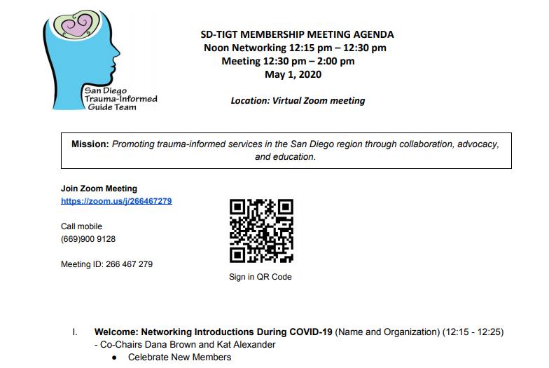 San Diego County Trauma-Informed Guide Team Membership Meeting